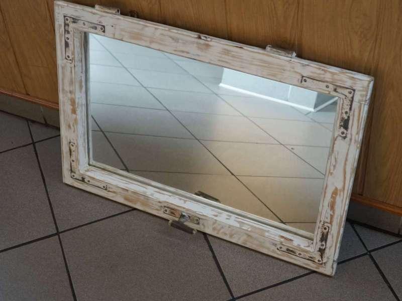 Lustro w drewnianej ramie okiennej/dwie sztuki